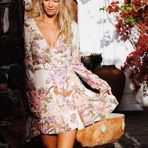 Spell and the Gypsy blue skies wrap dress in cream